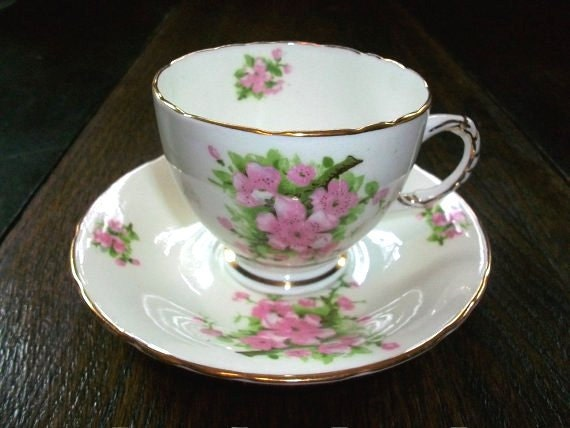 Vintage Bone China Cup and Saucer Sutherland England Peach Blossom
