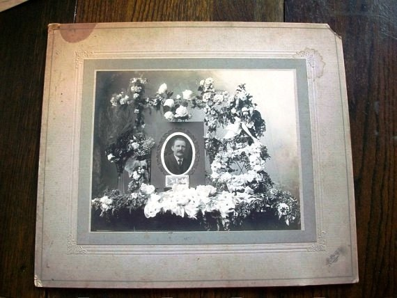 """Vintage Photograph Funeral Memorial Picture Victorian Mourning Photo Large 14"""" X 12"""""""