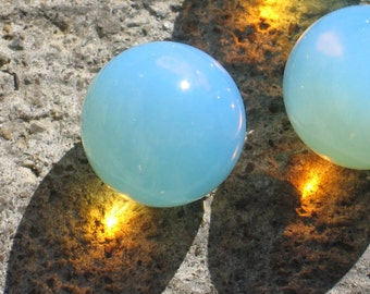 Opalite spheres luminescent blue sea glass