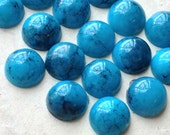10 mm Turquoise Color Flat Back Acrylic Cabochons (.mc)
