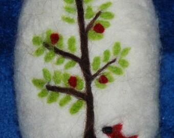 Felted Soap Cardinal With Winter Berries Handmade Redbird Handmade