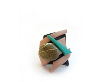 Geometric polymer clay ring with natural stone - ready to ship