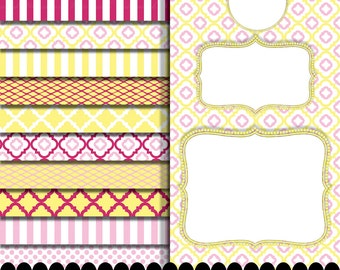 Pink digital paper frame clip art in pink yellow fuschia printables : p0207 3s103738 IP