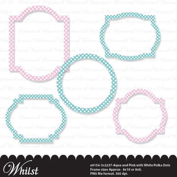 Polka dot frame clip art circle with white polka dots in Aqua blue ...