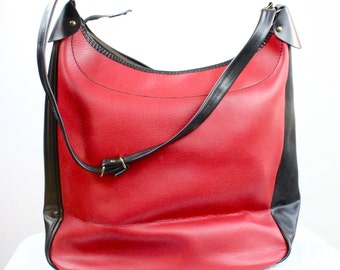 Vintage 60's Two Tone Black & Red Oversized Tote Bag