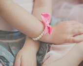 Peony Pink Girls Pearl Bracelet, Flower Girl Gift, Jr Bridesmaid, Birthday, First Pearls Pearls and Ribbon -- FREE Gift Packaging