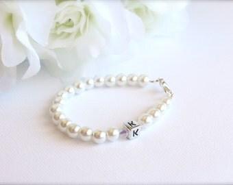 Pearl Bracelet Initial Letter Block,  Monogram Flower Girl Gift, Jr Bridesmaid Little Girl Bracelet First Pearls -- FREE Gift Packaging