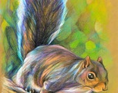"Squirrel Mike lurking -Original Color Pencil Drawing -11"" X 14"""