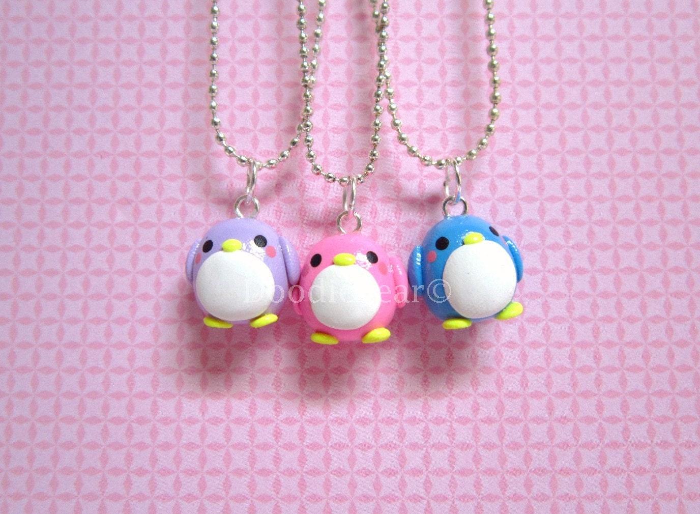 penguin friendship kawaii polymer clay charms bff