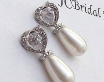 Wedding Pearl Earring Bridal Earring White Swarovski Pearl with White Gold Plated Cubic Zirconia Circle Leaf Post Earrings