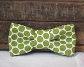 Little Guys' Bow Tie - Leaf Green Polka Dot, fits NB to Adult