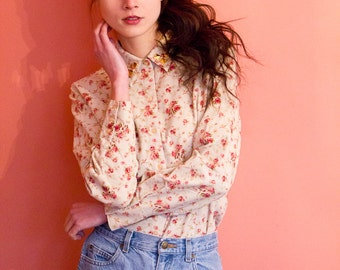 Studded Collar Floral Blouse Yellow Pink Gold Studs Long Sleeve Button Down Medium