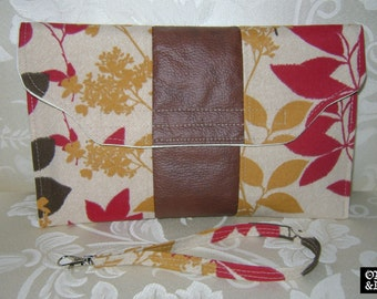 Screen Print Floral Faux Leather Stripe Wristlet Clutch/ Bill & Mail Holder/ Pouch