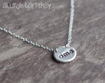 Silver Oma Necklace - Hand Stamped Simple Pebble Jewelry
