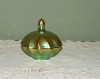 Vintage Zsolnay Green Eosin Glaze Porcelains Covered dresser Powder box trinket Dish Hungary