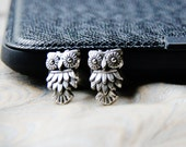OWL Cuff Links - Night Owls Cufflinks - Silver Bird Feather Cufflink - Big Round Eyes - Fancy Elegant Animal Cuffs - WEDDING - Men's Gifts
