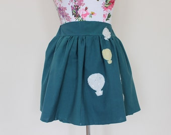 CLEAR OUT !!! Handmade teal high-waisted skirt with applique hot air balloons: size UK 10 waist 28""