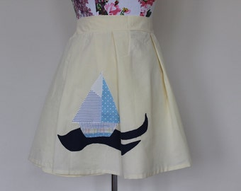 """CLEAR OUT !!! Handmade yellow cream high-waisted skirt with nautical sailing boat size UK 18-20 waist 37"""""""