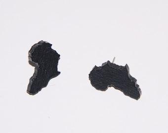 Stud Wood Earrings-Black Africa