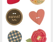 50% Off - American Crafts MayBerry Shaped Wood Buttons - Cupcake -- MSRP 4.00