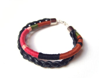 Thread Wrapped Bracelet, Leather Cord Bracelet, Braided Leather Bracelet, Thread Bracelet UK