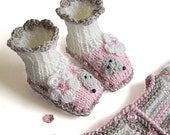 "Knitted Baby booties ""Funny Mouses"" / knit baby girls booties / size 0-3M - MiaPiccina"