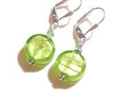Murano Glass Peridot Green Coin Silver Earrings, Leverback Earrings, Venetian Jewelry, Italian Jewelry, Lime Green