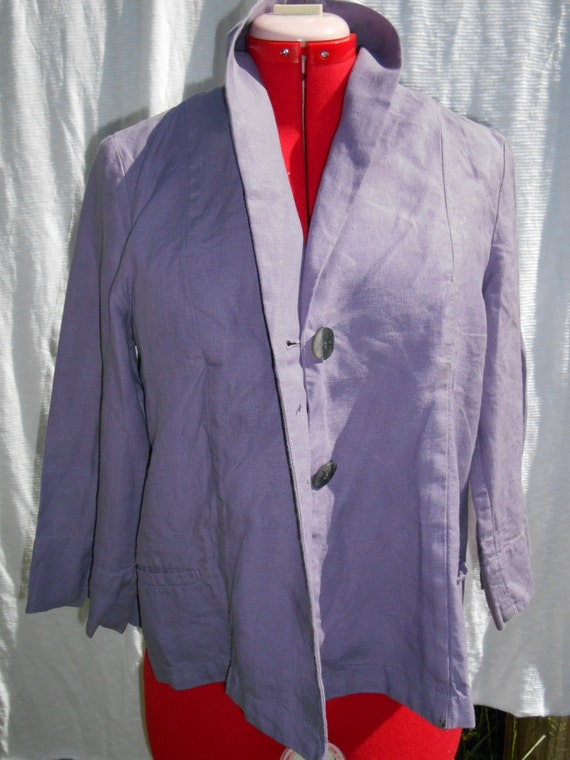 Moving Sale vtge 80s linen j jill cape swing coat  bolero cover purple periwinkle organic  linen med