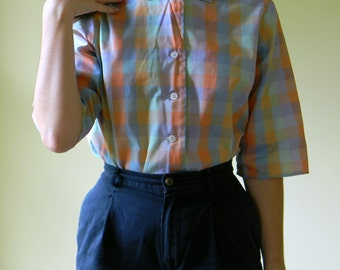 Sunset 50's Plaid Blouse / Cotton Three Quarter Sleeve Cotton Button-down