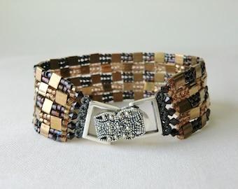 Beadwoven Bracelet Beaded Bracelet Metallic Bronze Bracelet Herringbone Stitch Bracelet Tila Bead Bracelet Seed Bead Bracelet