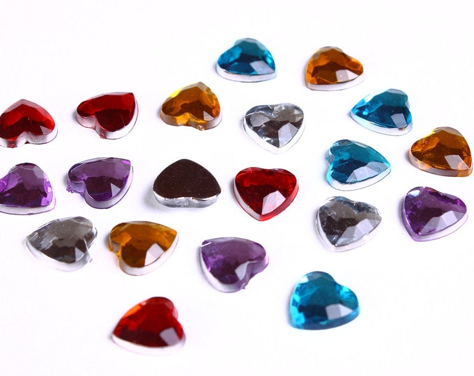 20 faceted resin heart cab cabochon mixed color with Silver Foil 8mm 20pcs (963) - Flat rate shipping