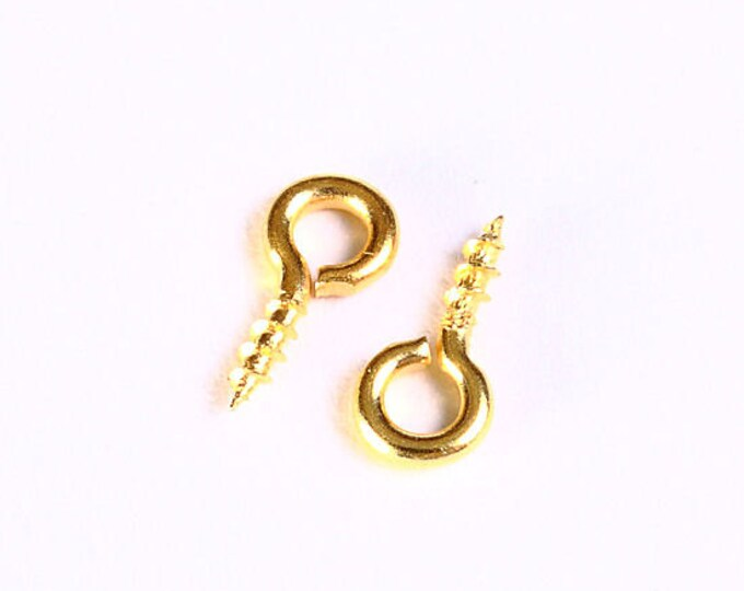 8mm x 4mm - Gold tone screw eyes bails top drilled findings - Lead free Nickel free (1036) - Flat rate shipping