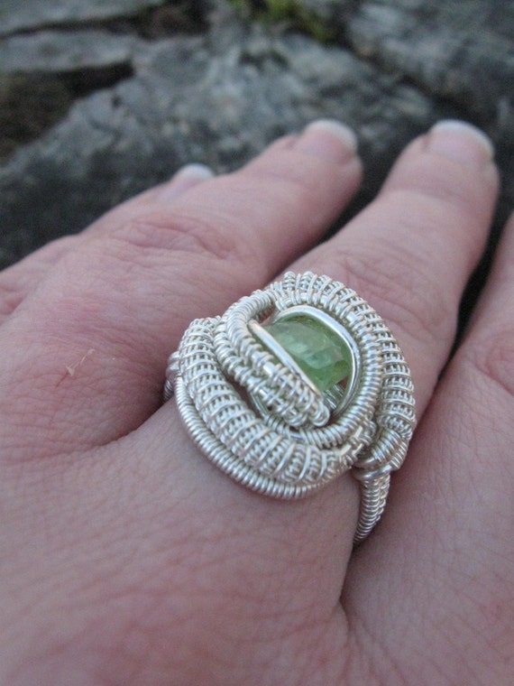 Wire Wrapped Peridot Ring in Sterling Silver Size 7