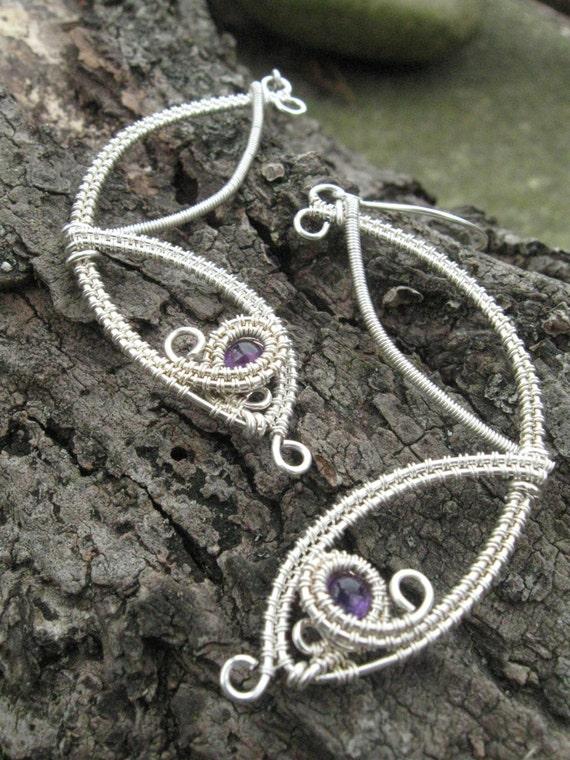 Amethyst Wing Earrings in Sterling Silver