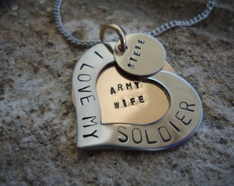 "Personalized ""I LOVE MY Soldier"" Heart Necklace with Inside Message and Name Charm - Mom Necklace - Gift for her"