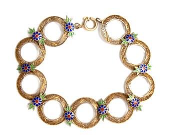 SALE Enamel Flowers & Filigree  Bracelet Art Deco Vintage NOW 100 WAS 145