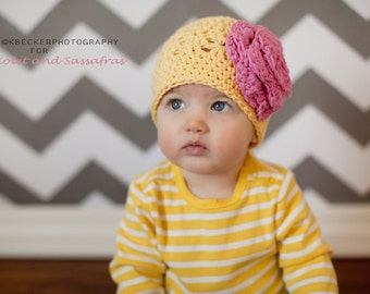 girls hat, baby girl hat, baby hat, crochet baby hat, kids hat, crochet kids hat, newborn girl hat, hat with flower