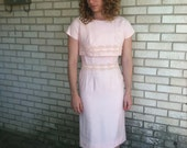 pale pink 1950s wiggle dress w/ matching crop tee & floral lace trim