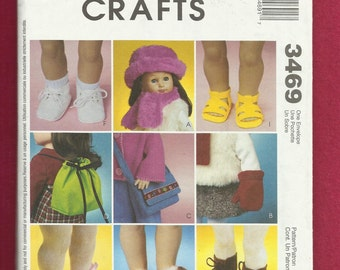 McCalls 3469 Doll Accessories Pattern Shoes Boots Purse Hat and More Size for 18 Inch Doll UNCUT
