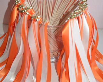 Wedding ribbon wands- set of 100 double ribbon wands with bells