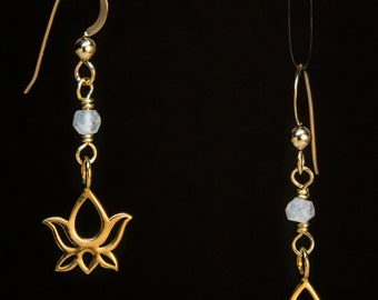 Bronze Lotus & Mystic Quartz Earrings on Gold-Filled ear wires