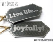 Live life... Stainless steel pendant, charm or keychain. Personalize for a small wedding favor or gift.