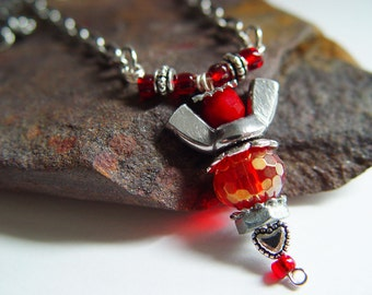 Silver and Ruby Red Iridescent Beaded Wingnut Angel Necklace