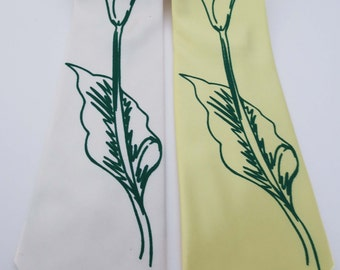 Calla Lily silkscreen neckties Microfiber screen printed flower tie