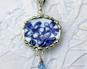 Broken China Jewelry, Round China Pendant Necklace, Bright Blue Floral, Sterling Silver Chain