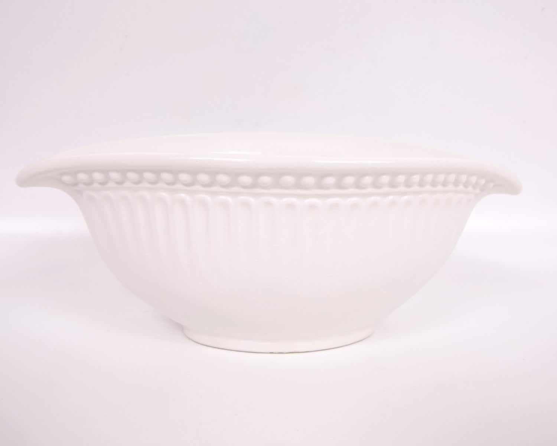 Vintage Amora Italian Bowl Made In Italy Serving Dish Vase Off White Embossed Ceramic