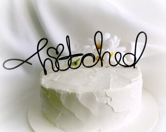 Fun Wedding Cake Topper, Rustic Decorations, Hitched