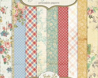 Georgia Rose 12 Printable Scrapbook Papers Set by Jodie Lee . . . Instant Download and Print