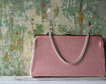 Vintage Pink and Silver Purse, Retro Spring Fashion