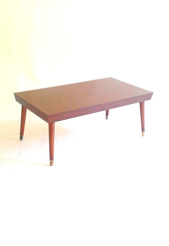 Mid Century Danish Modern Rectangular Peg Leg Coffee Table